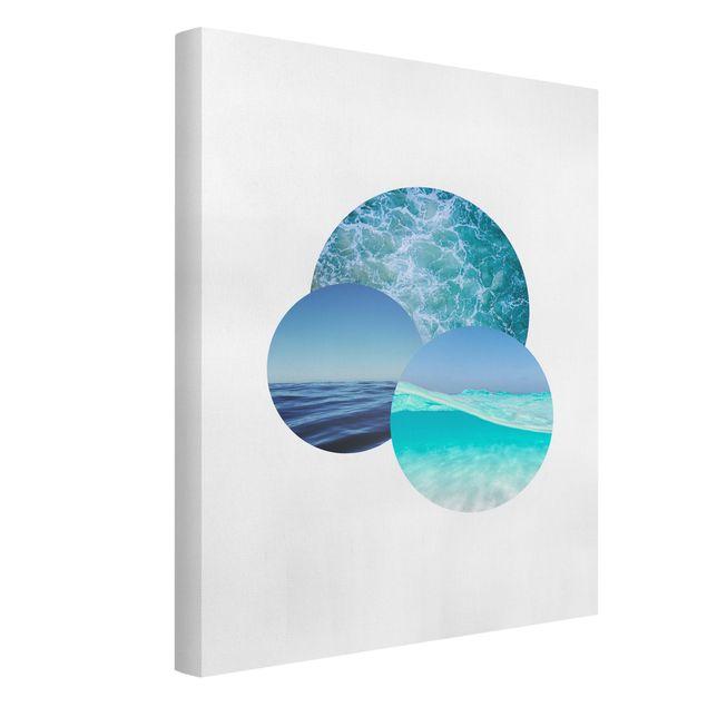 Leinwandbild - Ozeane im Kreis - Hochformat 3:4