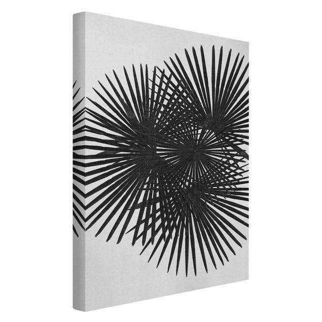 Leinwandbild - Palmenfarne in Schwarz-Weiß - Hochformat 2:3