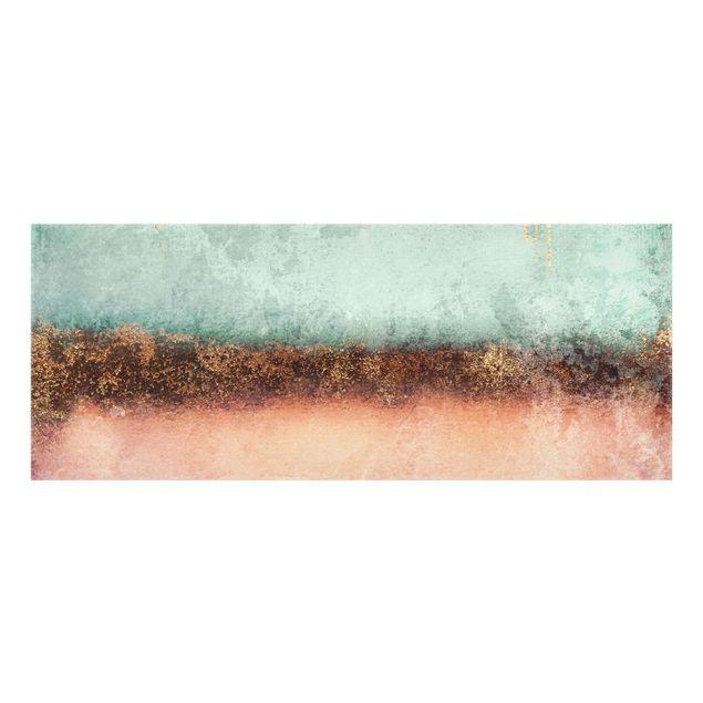 Spritzschutz Glas - Pastell Sommer mit Gold - Panorama 5:2