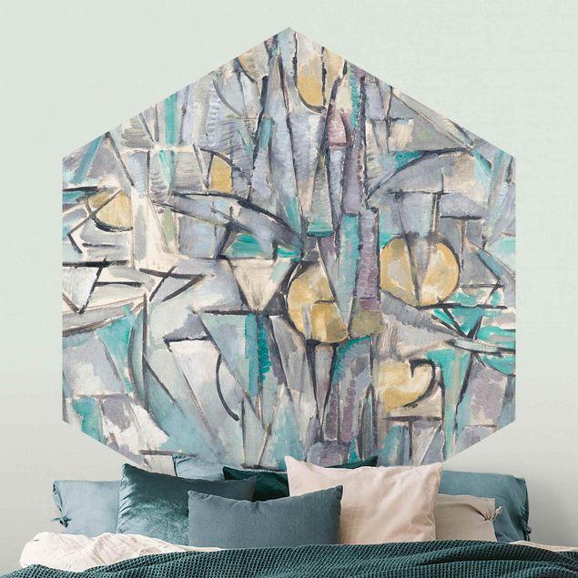 Hexagon Mustertapete selbstklebend - Piet Mondrian - Komposition X