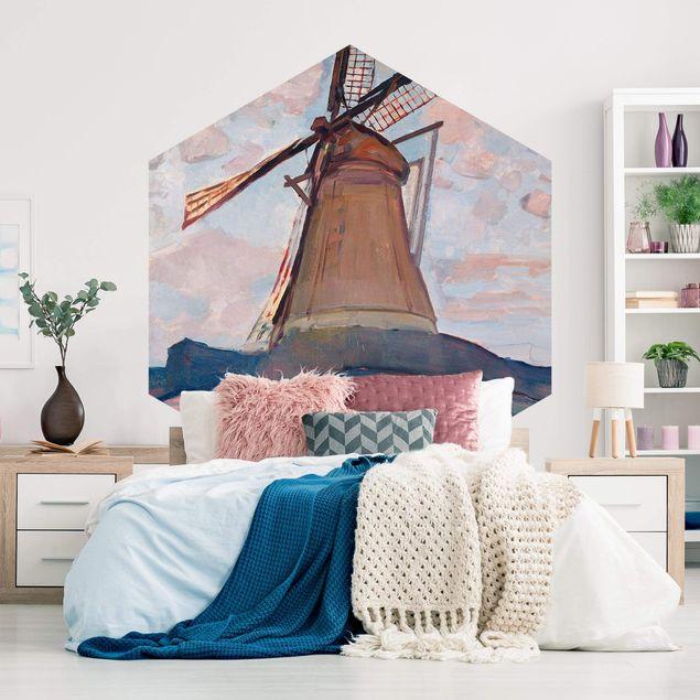 Hexagon Mustertapete selbstklebend - Piet Mondrian - Windmühle