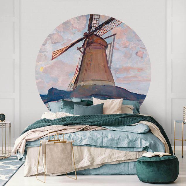 Runde Tapete selbstklebend - Piet Mondrian - Windmühle