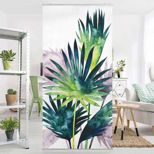 Raumteiler - Exotisches Blattwerk - Fächerpalme - 250x120cm