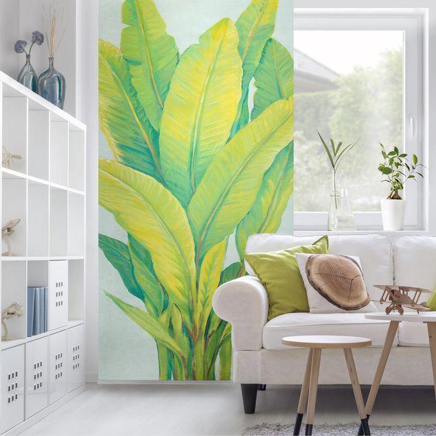 Raumteiler - Gelbgrüne Bananenblätter - 250x120cm