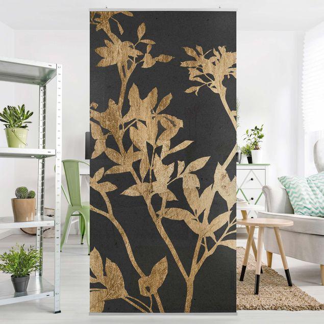 Raumteiler - Goldene Blätter auf Mokka II - 250x120cm