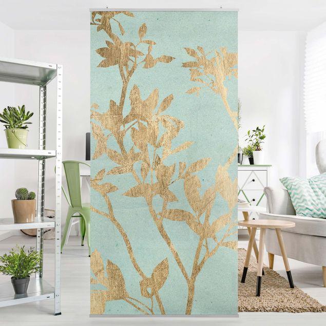 Raumteiler - Goldene Blätter auf Turquoise II - 250x120cm