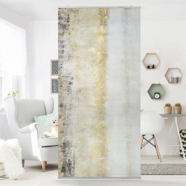 Raumteiler - Goldene Farbfelder I - 250x120cm