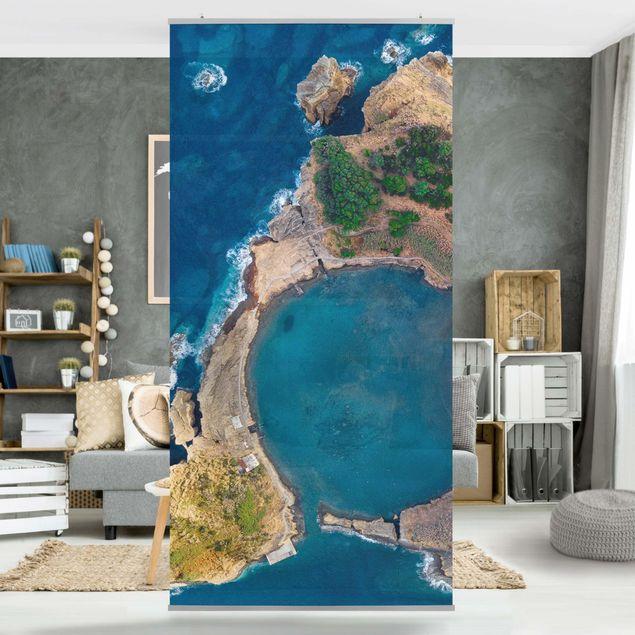 Raumteiler - Luftbild - Die Insel Vila Franca do Campo - 250x120cm