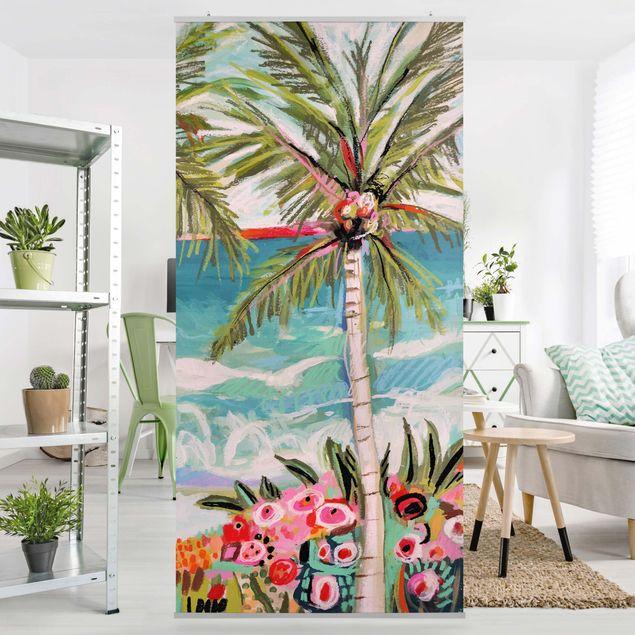 Raumteiler - Palme mit pinken Blumen II - 250x120cm