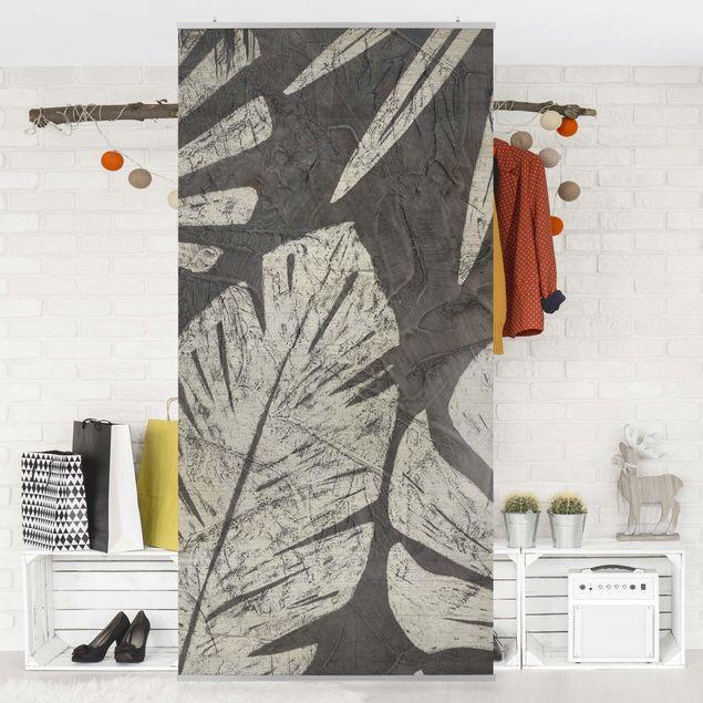Raumteiler - Palmenblätter vor Dunkelgrau - 250x120cm