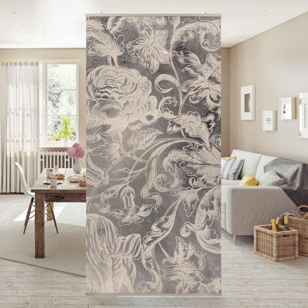 Raumteiler - Verblühtes Blumenornament I - 250x120cm