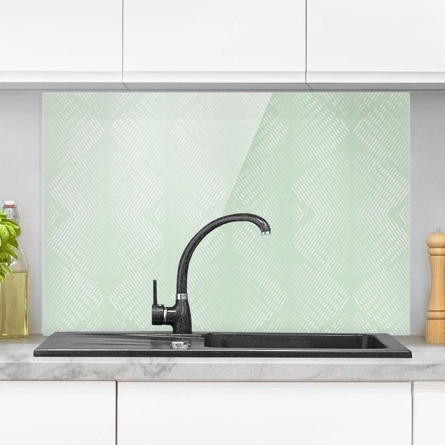 Spritzschutz Glas - Rautenmuster mit Streifen in Mintgrün - Querformat 3:2