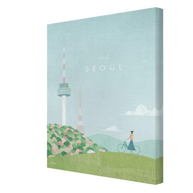 Leinwandbild - Reiseposter - Seoul - Hochformat 3:4