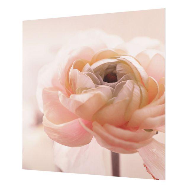 Spritzschutz Glas - Rosa Blüte im Fokus - Quadrat 1:1