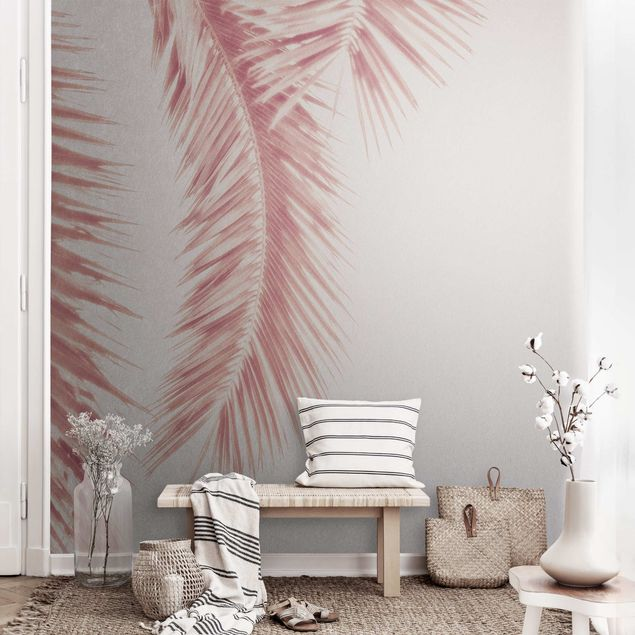 Metallic Tapete - Rosegoldene Palmenblätter
