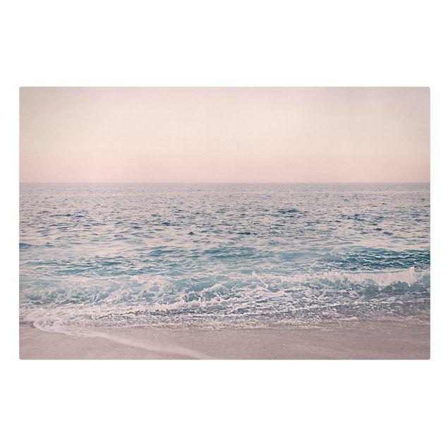 Leinwandbild - Roségoldener Strand am Morgen - Querformat 3:2