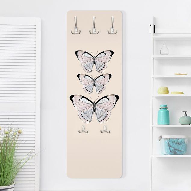 Garderobe - Schmetterling auf Beige