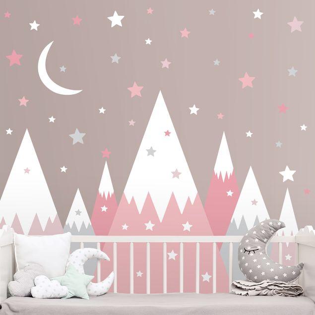 Wandtattoo mehrfarbig - Schneebedeckte Berge Sterne und Mond Rosa