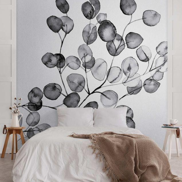 Metallic Tapete - Schwarz Weiß Aquarell Eukalyptuszweig