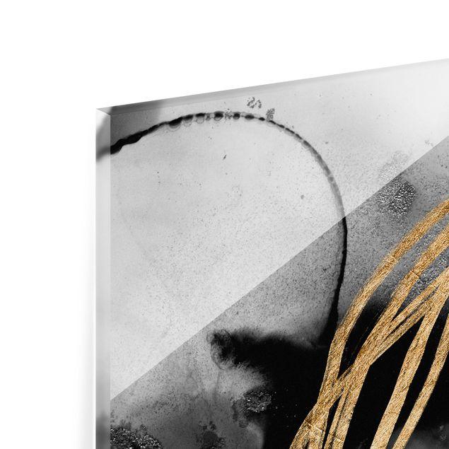 Spritzschutz Glas - Schwarze Tusche mit goldenen Linien II - Querformat 2:1