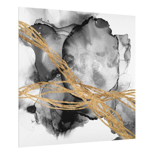 Spritzschutz Glas - Schwarze Tusche mit goldenen Linien - Quadrat 1:1