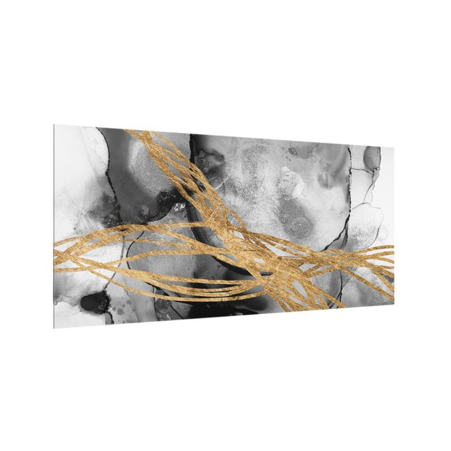 Spritzschutz Glas - Schwarze Tusche mit goldenen Linien - Querformat 2:1