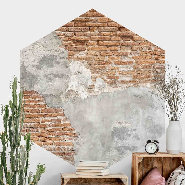 Hexagon Fototapete selbstklebend - Shabby Backstein Wand