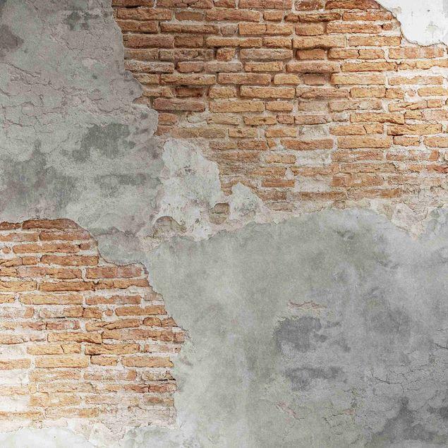Metallic Tapete  - Shabby Backstein Wand