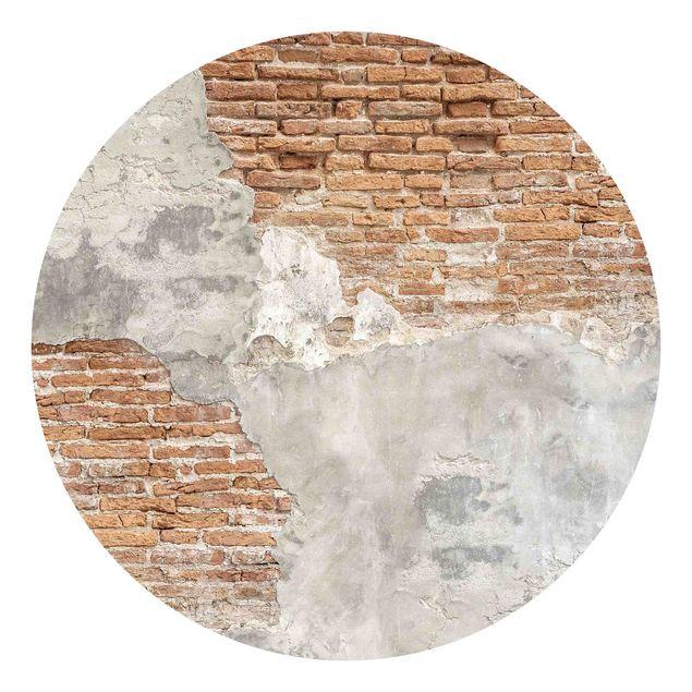 Runde Tapete selbstklebend - Shabby Backstein Wand