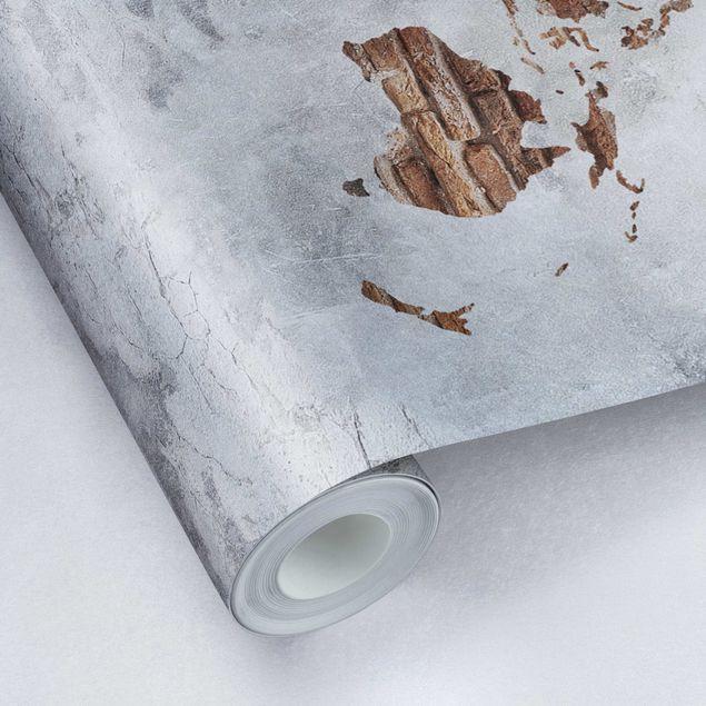 Metallic Tapete  - Shabby Beton Backstein Weltkarte
