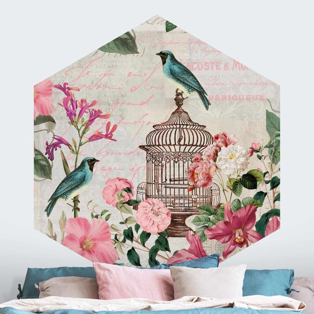 Hexagon Mustertapete selbstklebend - Shabby Chic Collage - Rosa Blüten und blaue Vögel