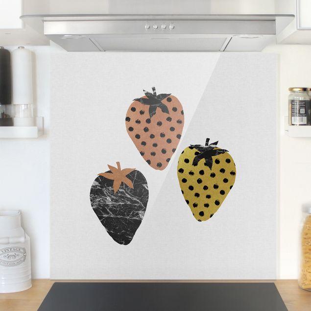 Spritzschutz Glas - Skandinavische Erdbeeren - Quadrat 1:1