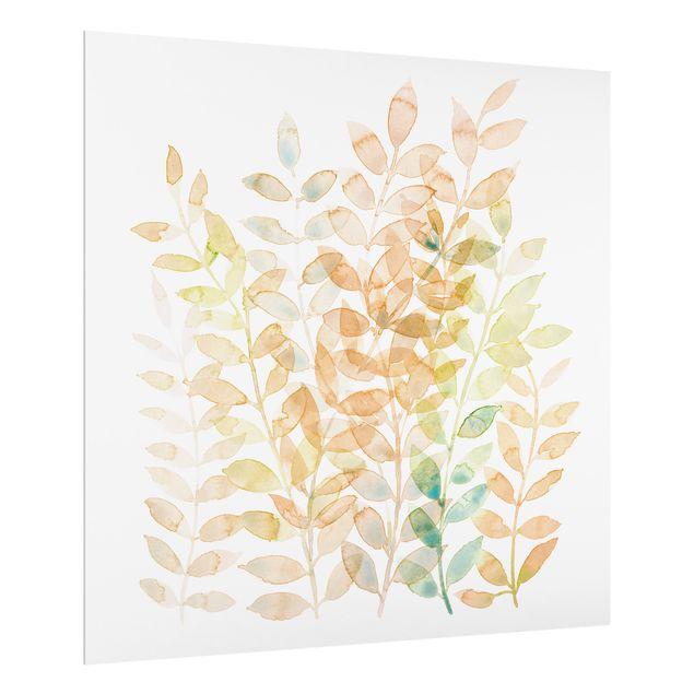 Spritzschutz Glas - Sommerlicher Blätterreigen - Quadrat 1:1
