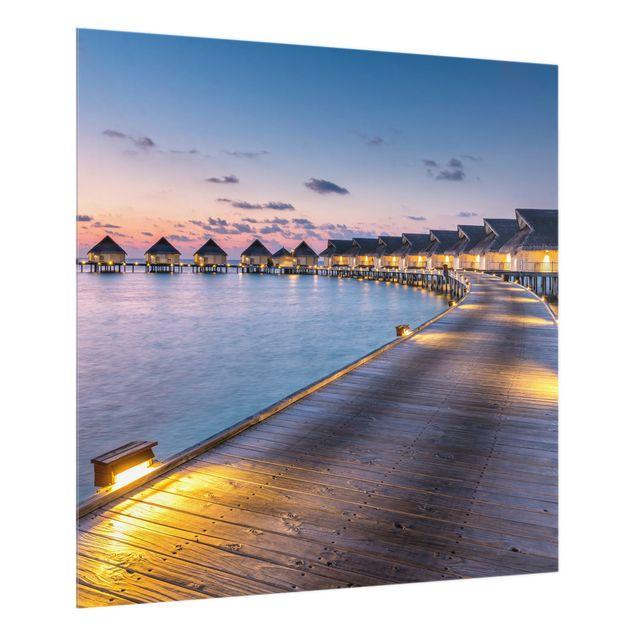 Spritzschutz Glas - Sonnenuntergang im Paradies - Quadrat 1:1