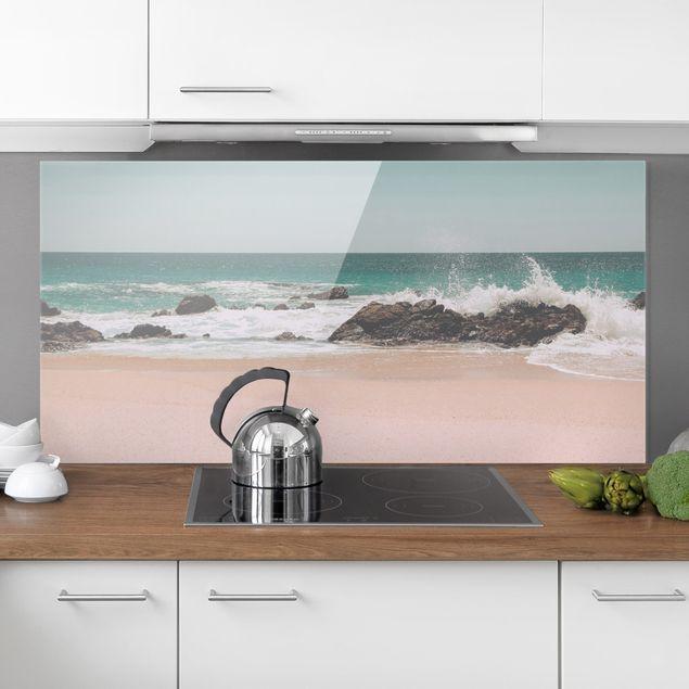 Spritzschutz Glas - Sonniger Strand Mexico - Querformat 2:1