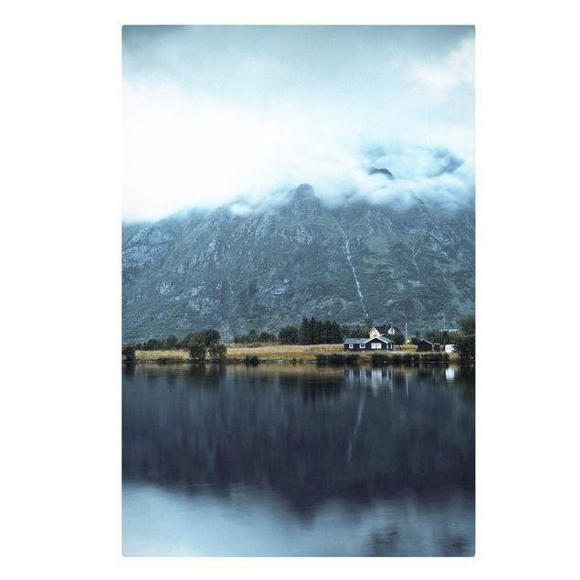 Leinwandbild - Spiegelung auf den Lofoten - Hochformat 2:3