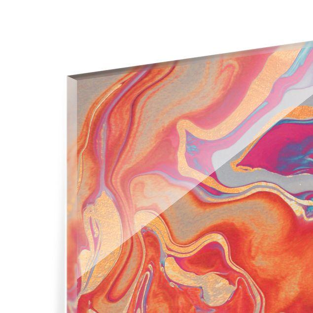 Spritzschutz Glas - Spiel der Farben Goldenes Feuer - Querformat 4:3