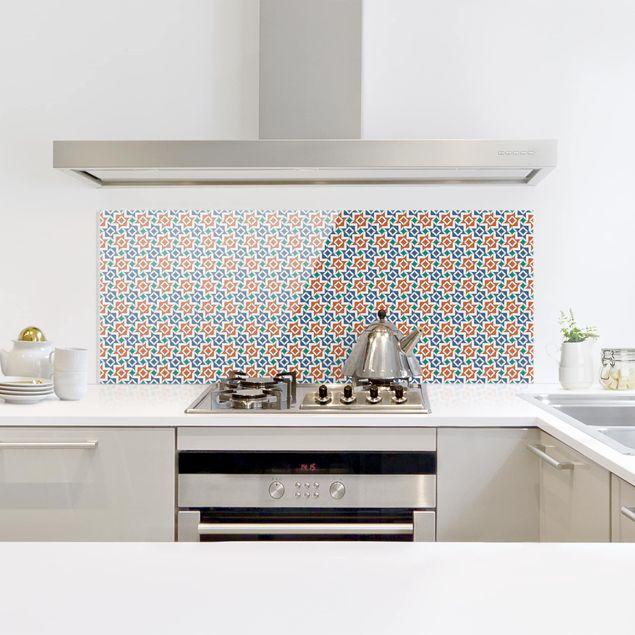Spritzschutz Glas - Alhambra Mosaik mit Fliesenoptik - Panorama Quer