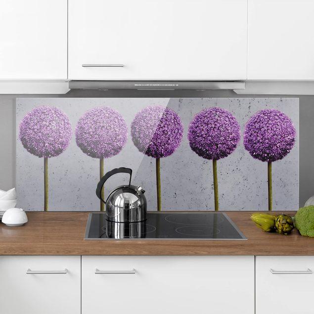 Spritzschutz Glas - Allium Kugel-Blüten - Panorama Quer