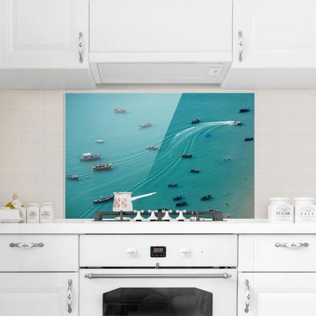 Spritzschutz Glas - Ankernde Fischerboote - Querformat 2:3
