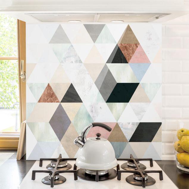 Spritzschutz Glas - Aquarell-Mosaik mit Dreiecken I - Quadrat 1:1