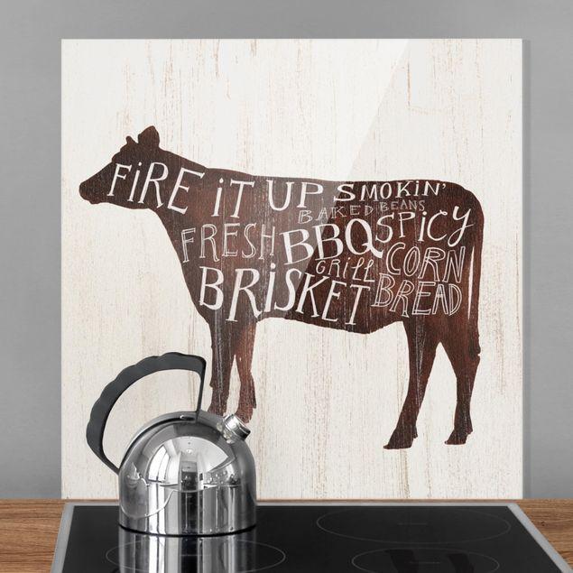 Spritzschutz Glas - Bauernhof BBQ - Kuh - Quadrat 1:1