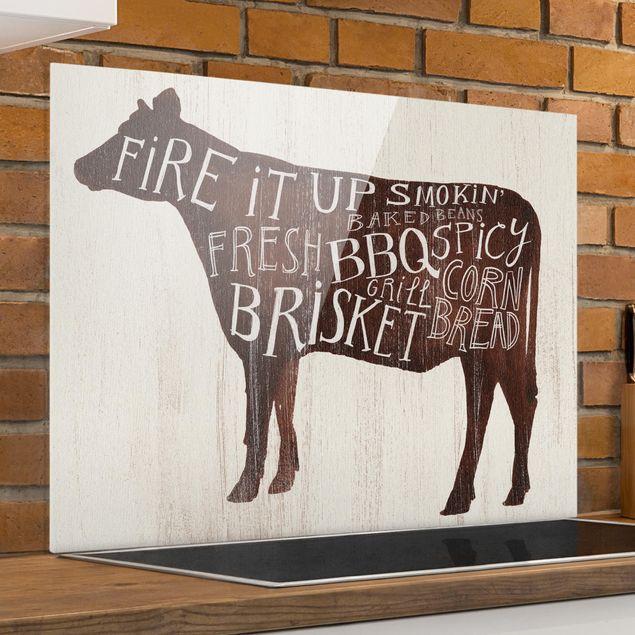 Spritzschutz Glas - Bauernhof BBQ - Kuh - Querformat 3:4