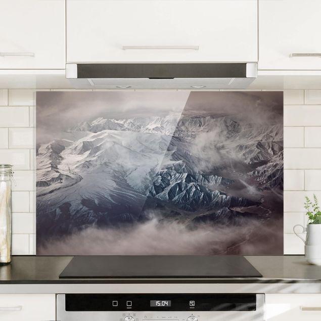 Spritzschutz Glas - Berge von Tibet - Querformat 2:3