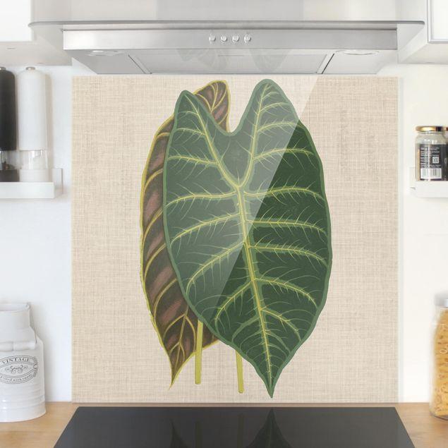 Spritzschutz Glas - Blätter auf Leinen I - Quadrat 1:1