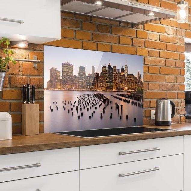 Spritzschutz Glas - Blick auf Manhattan Skyline - Querformat 2:3