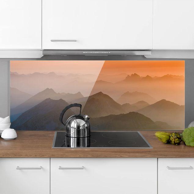 Spritzschutz Glas - Blick von der Zugspitze - Panorama Quer