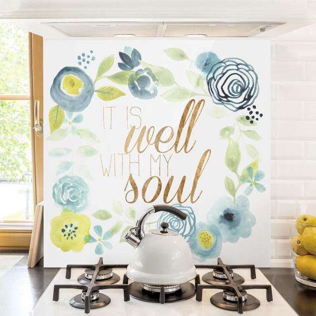 Spritzschutz Glas - Blumenkranz mit Spruch - Soul - Quadrat 1:1