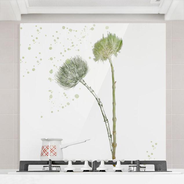 Spritzschutz Glas - Botanisches Aquarell - Quadrat 1:1