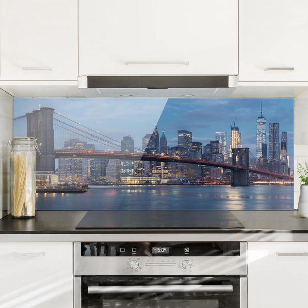 Spritzschutz Glas - Brooklyn Bridge Manhattan New York - Panorama